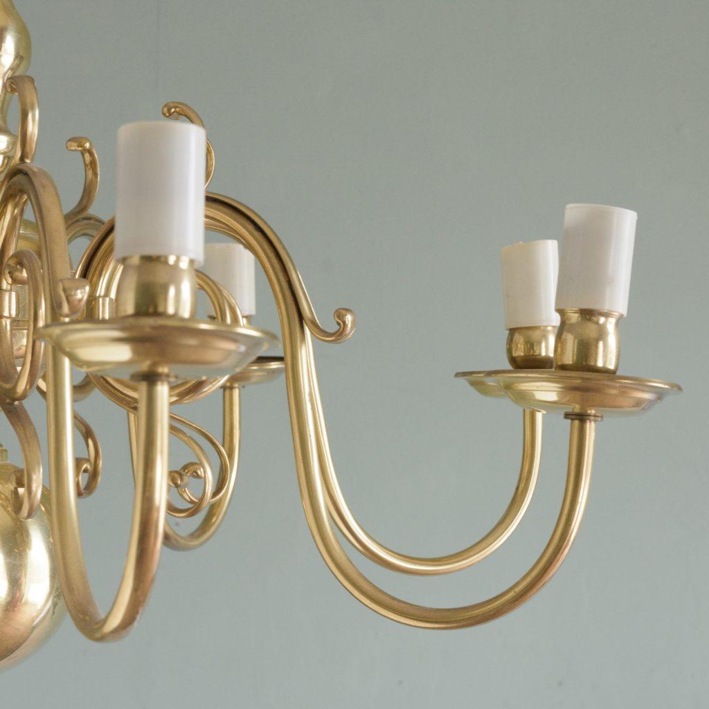 Eight branch Dutch style brass chandelier,-109095