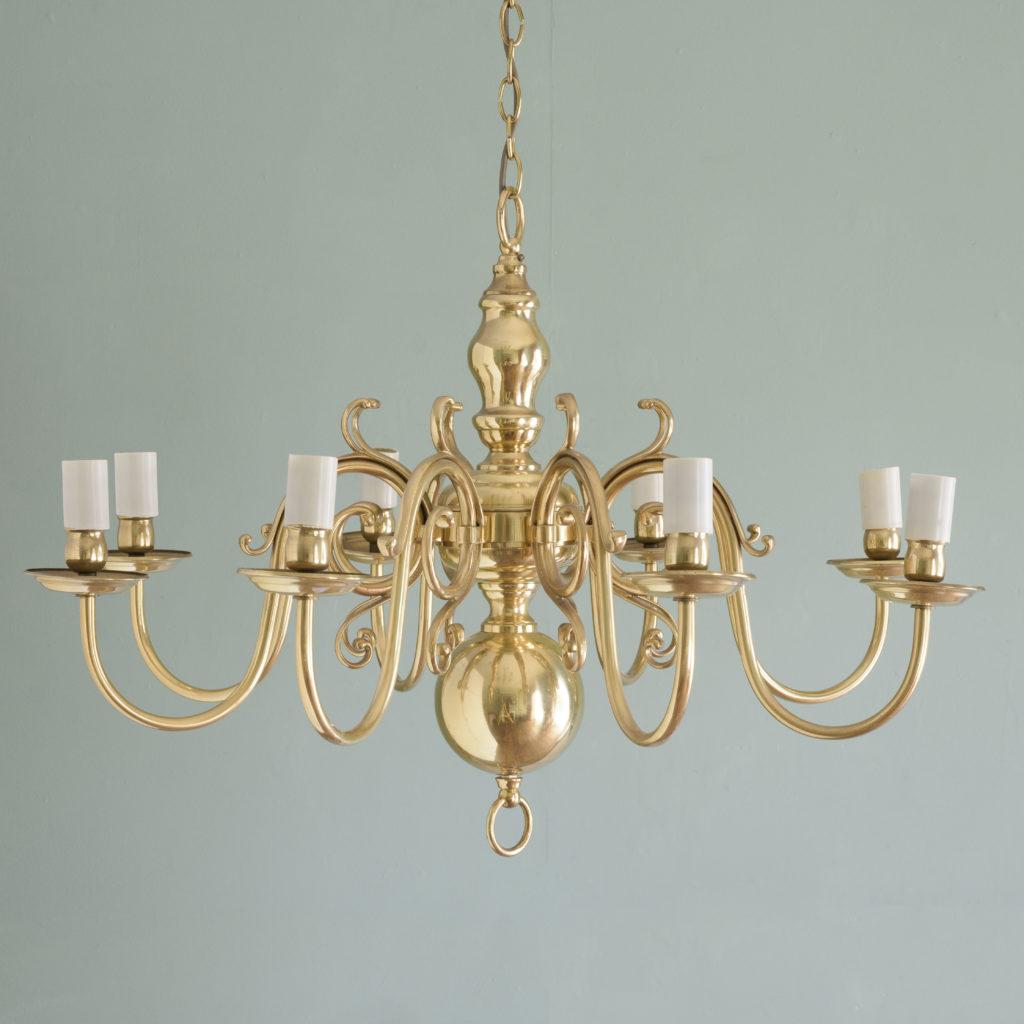 Eight branch Dutch style brass chandelier,-0