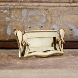 Edwardian brass letterplate,-0