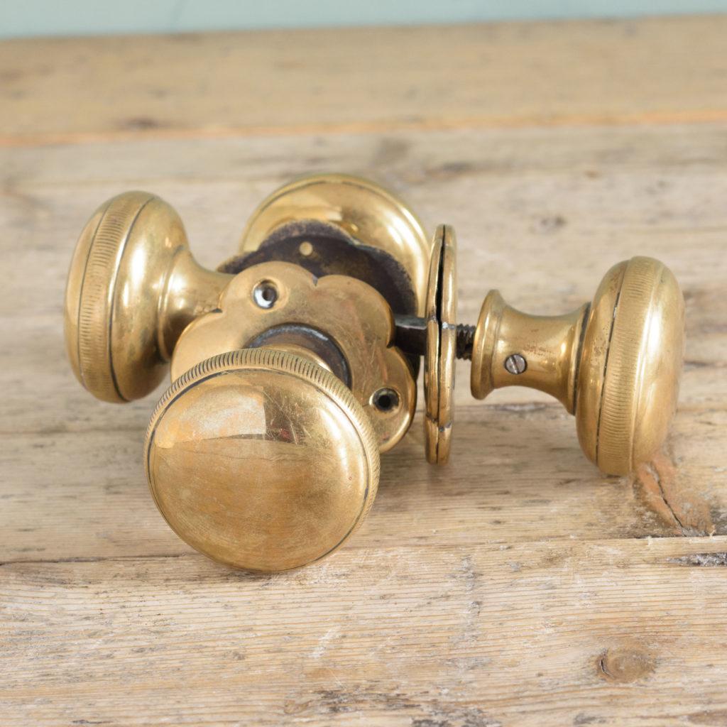 Late nineteenth century brass mortice set,-109125