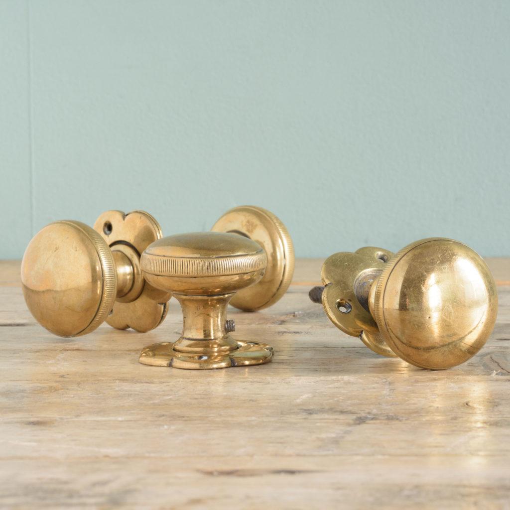 Late nineteenth century brass mortice set,-0