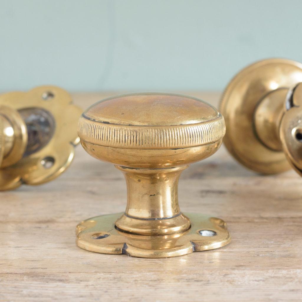 Late nineteenth century brass mortice set,-109127