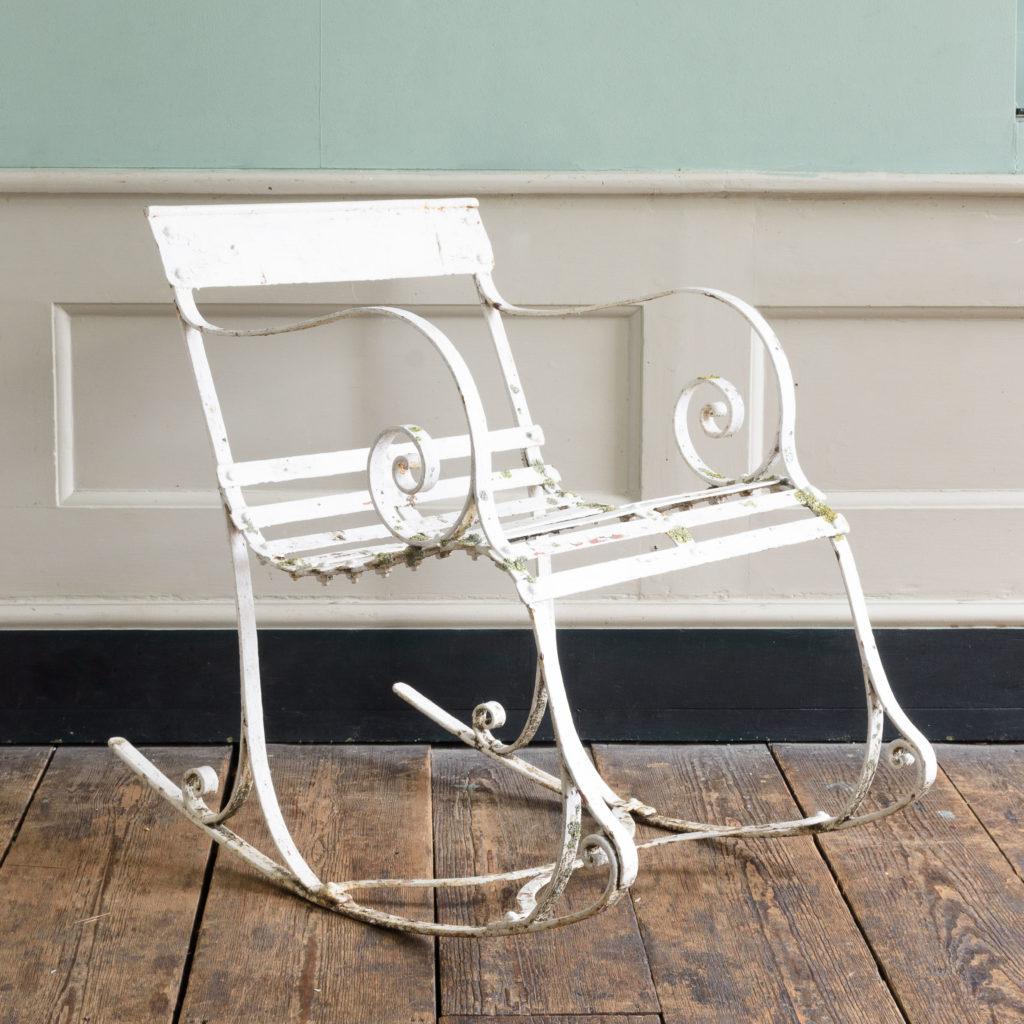 Late nineteenth century wrought iron rocking chair,-0