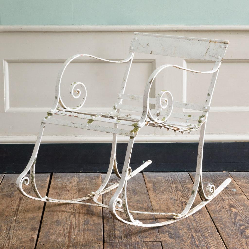 Late nineteenth century wrought iron rocking chair,-109506