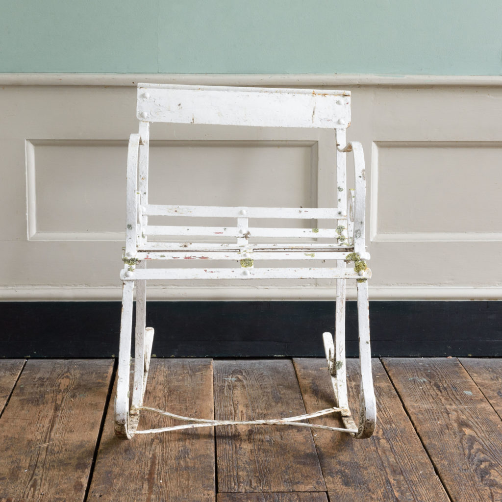 Late nineteenth century wrought iron rocking chair,-109499