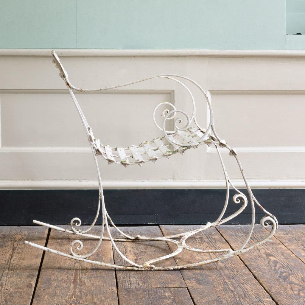 Late nineteenth century wrought iron rocking chair,-109498