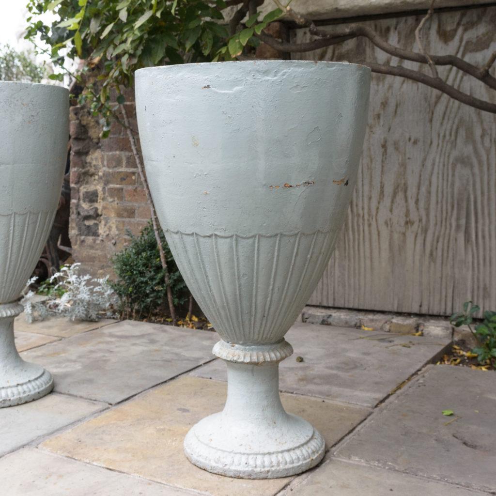 Large pair of cast iron garden urns, -109574
