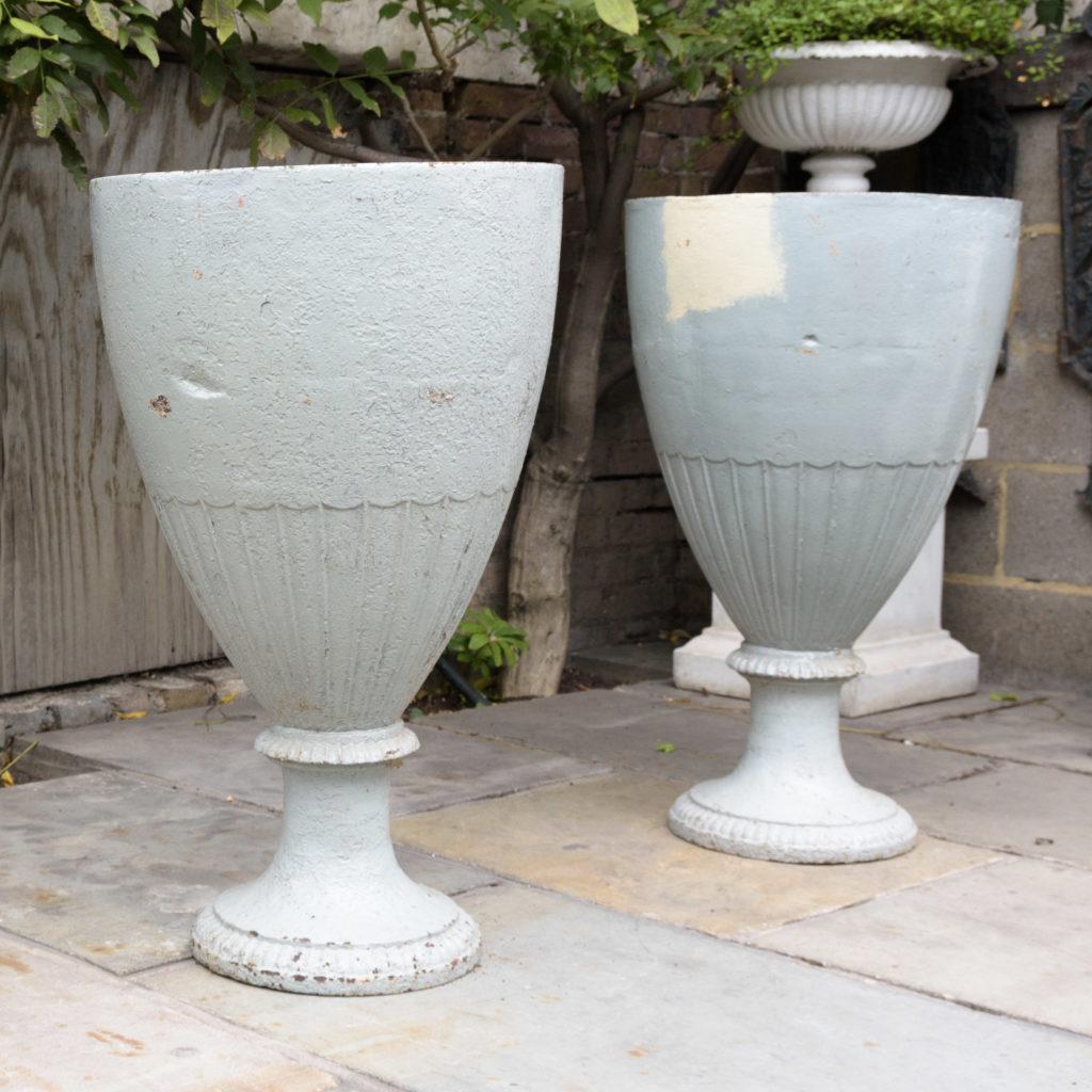 Large pair of cast iron garden urns, -109568