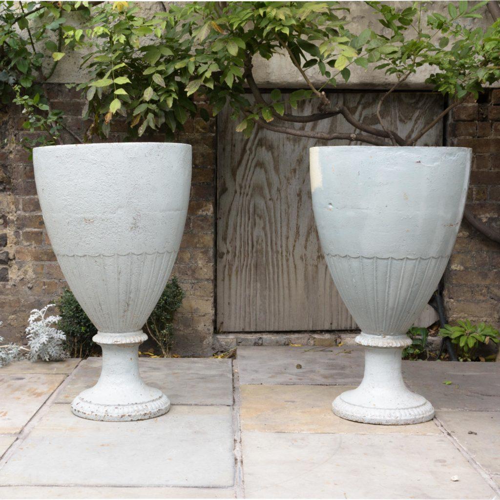 Large pair of cast iron garden urns, -0