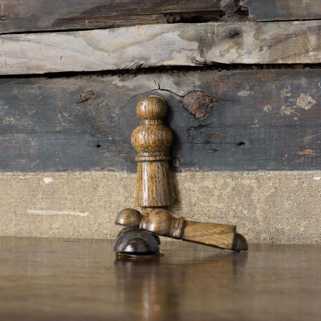Turned hardwood and brass escutcheons,-109326