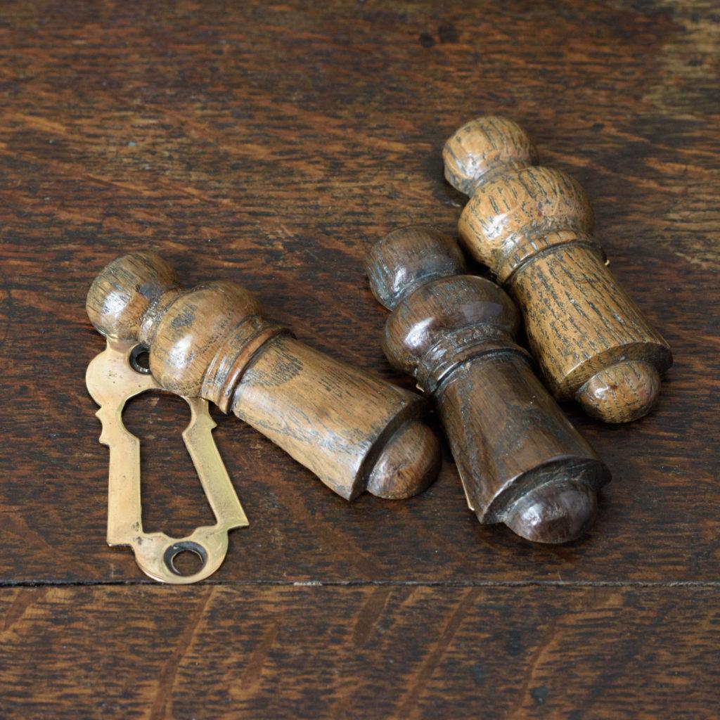 Turned hardwood and brass escutcheons,-109327