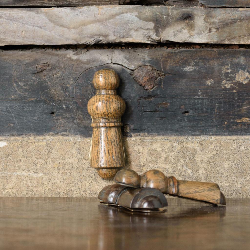 Turned hardwood and brass escutcheons,-0