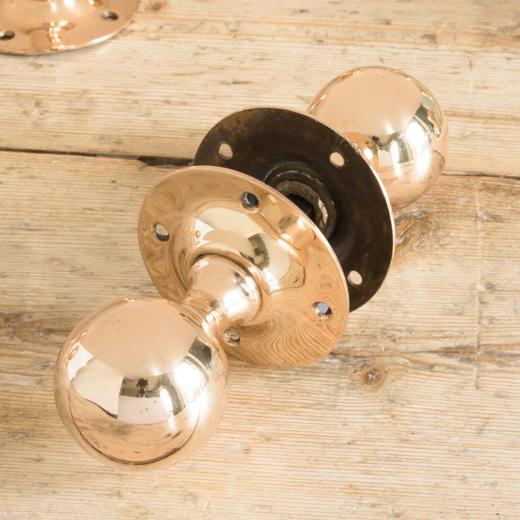 1920's spherical rose brass door knobs, -109773