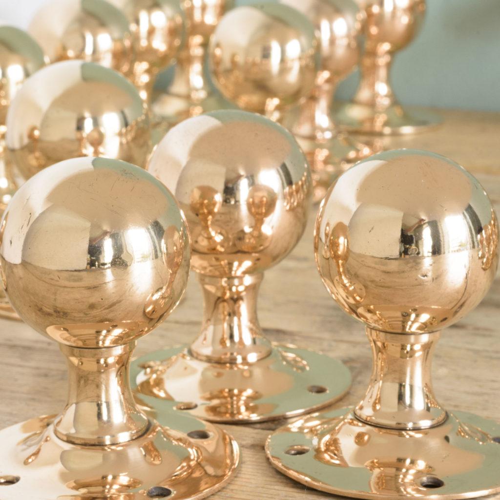1920's spherical rose brass door knobs, -109775