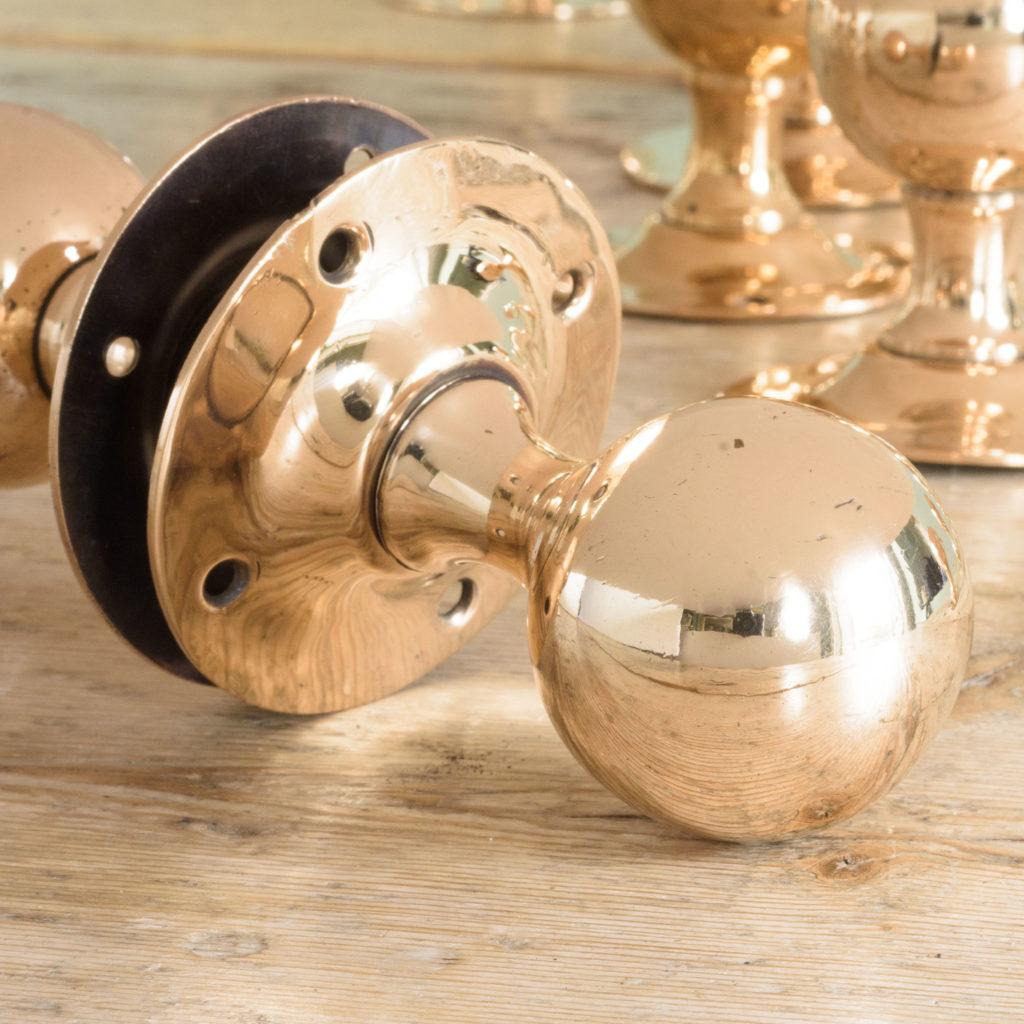 1920's spherical rose brass door knobs, -109772