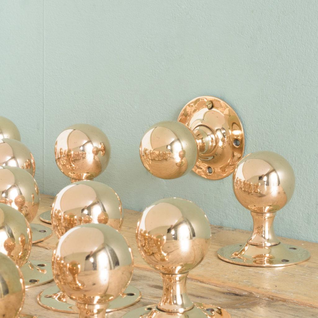 1920's spherical rose brass door knobs, -0