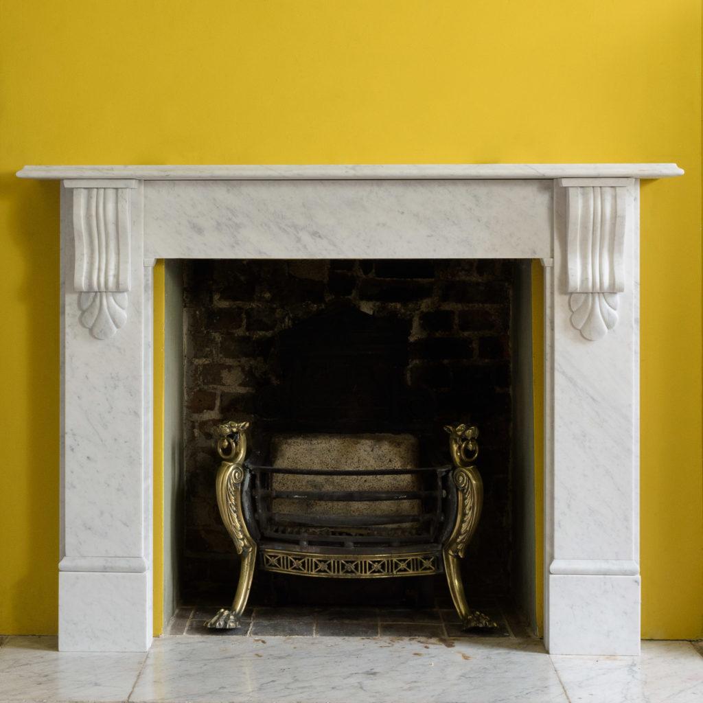 Victorian style Carrara marble chimneypiece,-109662