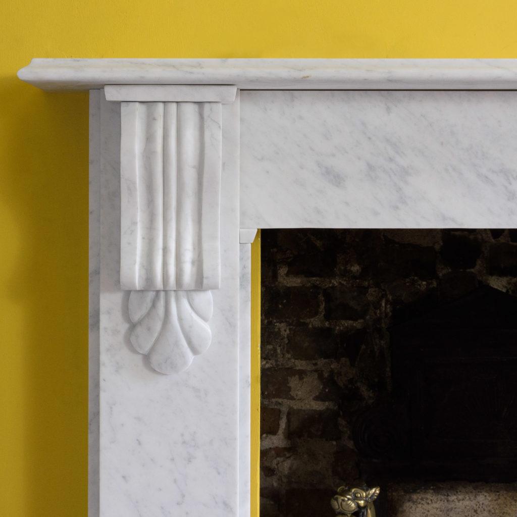 Victorian style Carrara marble chimneypiece,-109656