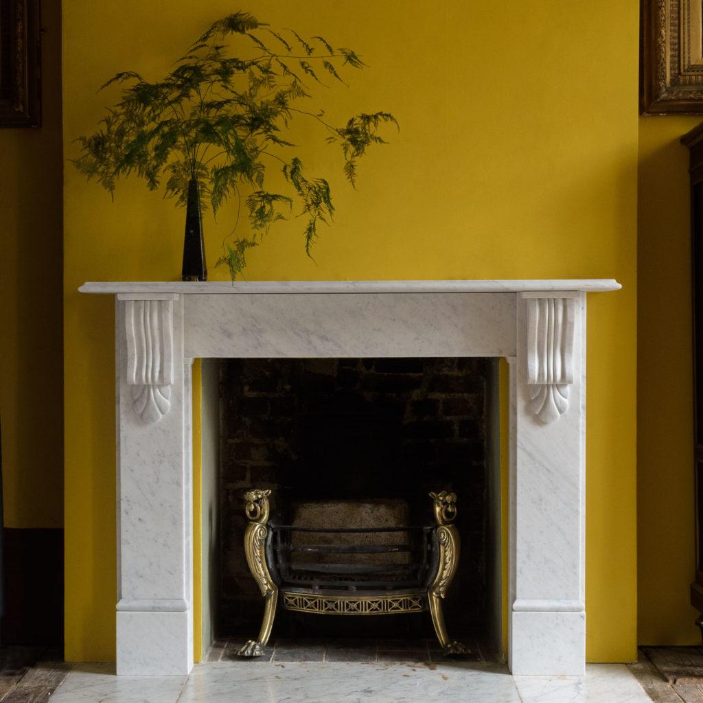Victorian style Carrara marble chimneypiece,-0