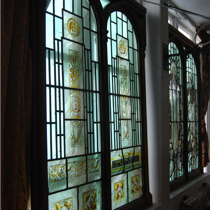 An pair of Edwardian stained glass windows,-109868