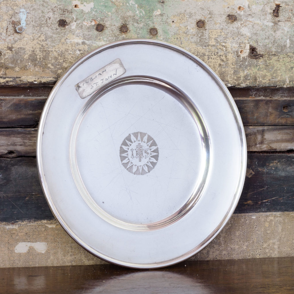 Silverplated communion dish,-0