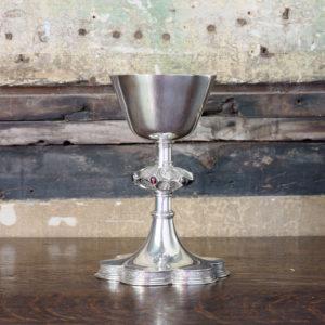 Silver communion chalice,-0