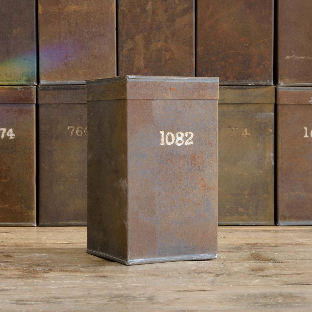 Hand numbered tea tins,-110265