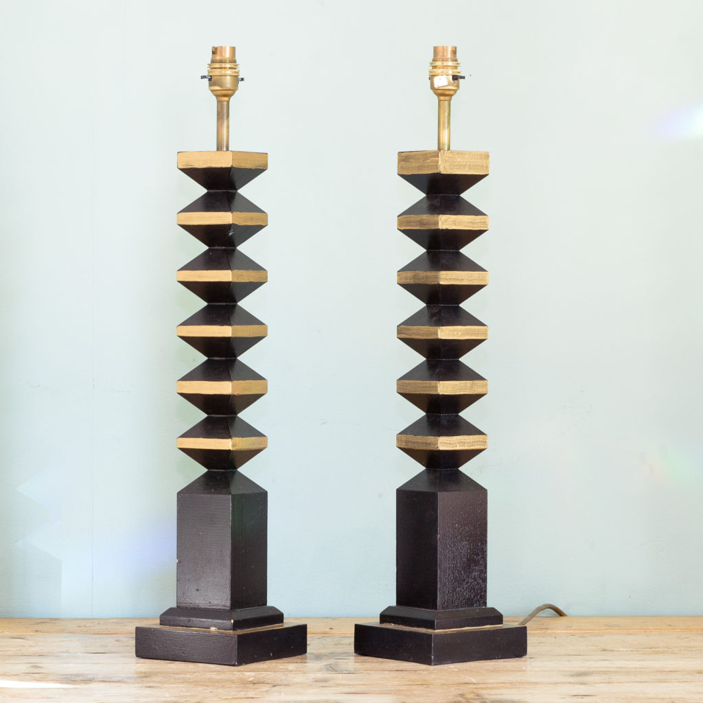 Pair of 1980s French 'totem' table lamps, -0