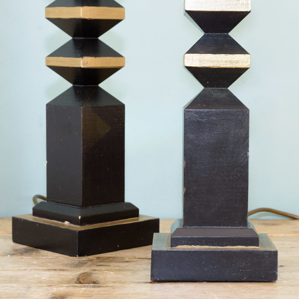 Pair of 1980s French 'totem' table lamps, -110089