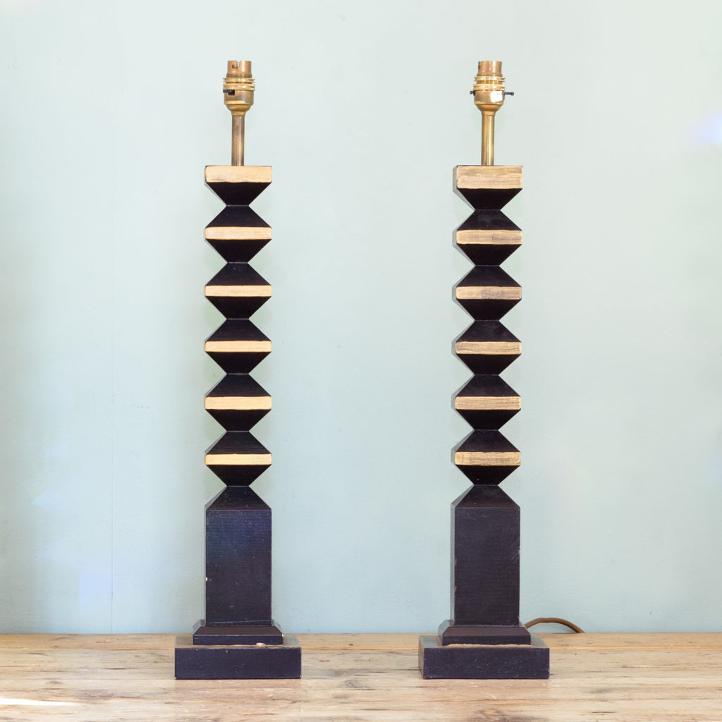 Pair of 1980s French 'totem' table lamps, -110092