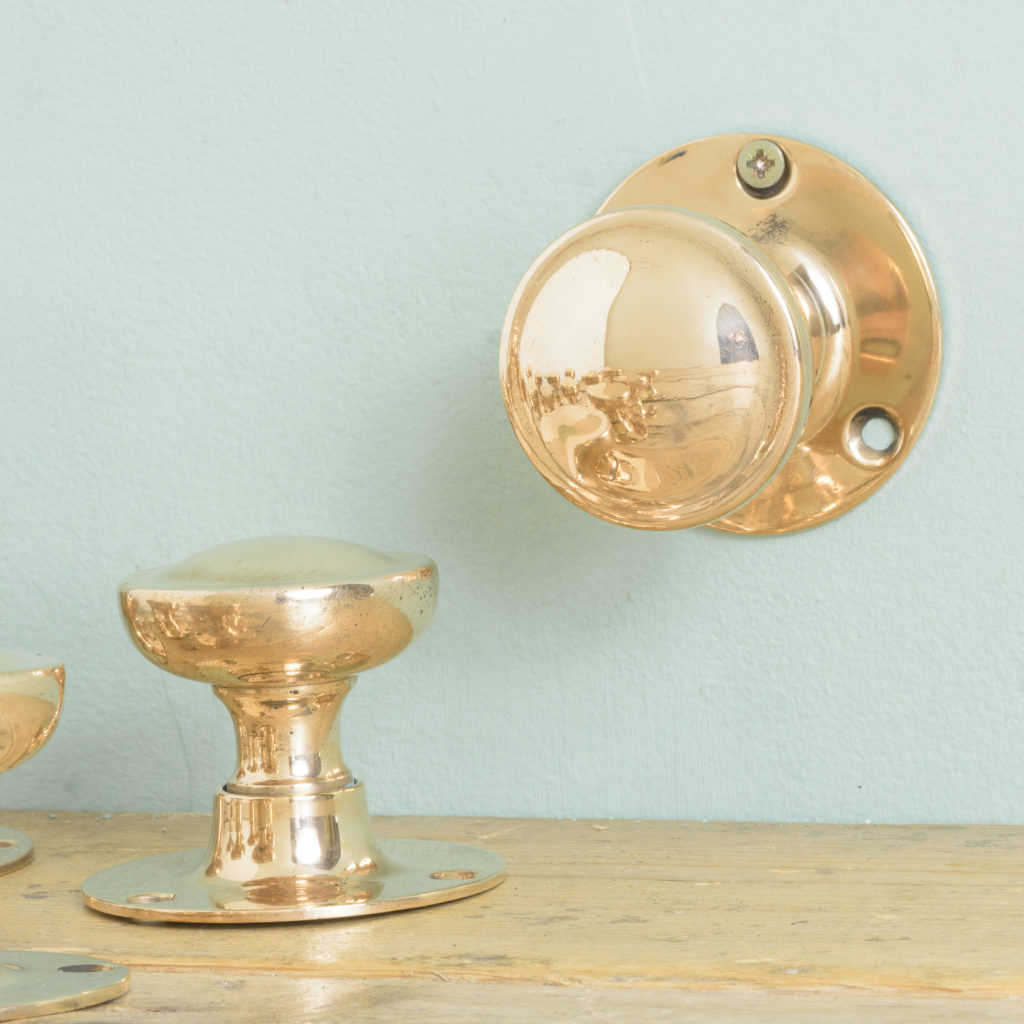 Early twentieth century rose brass door knobs,-110580