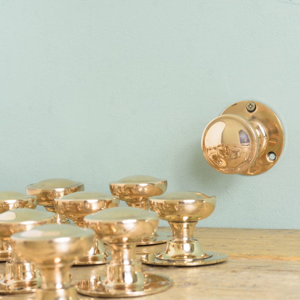 Early twentieth century rose brass door knobs,-0