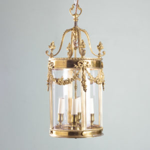 Louis XVI style brass lantern-0