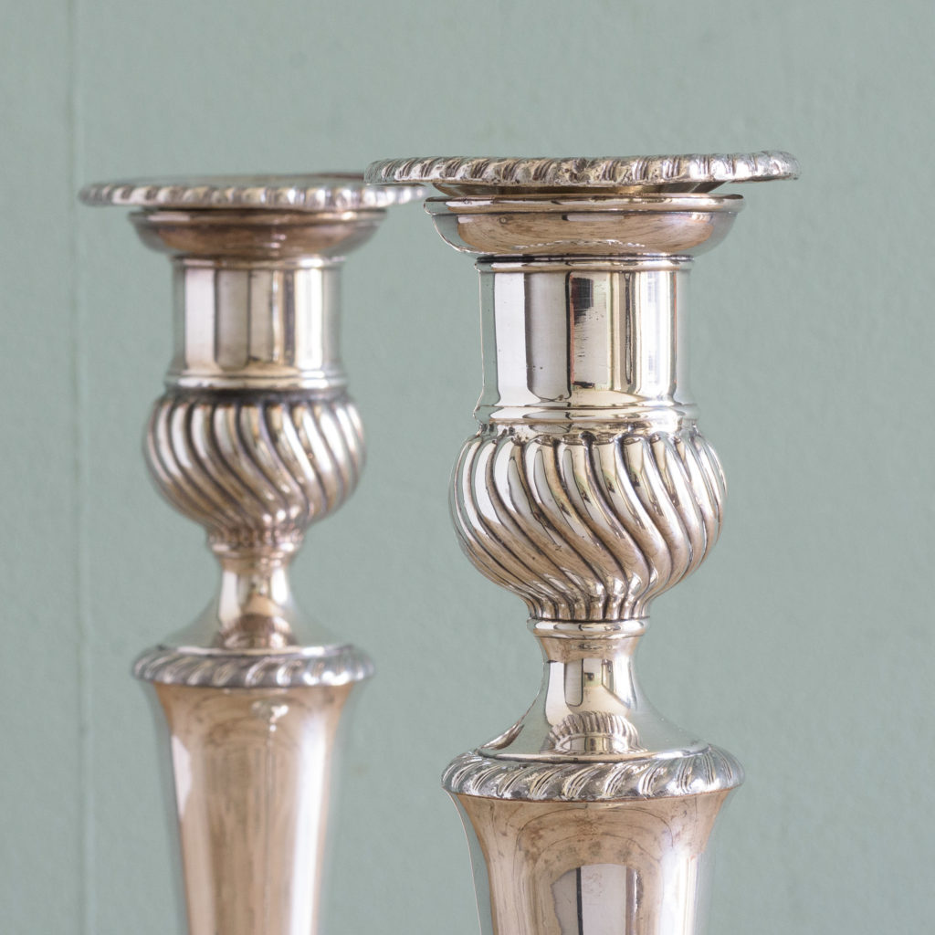 Pair of Sheffield plate George III style candlesticks,-110997