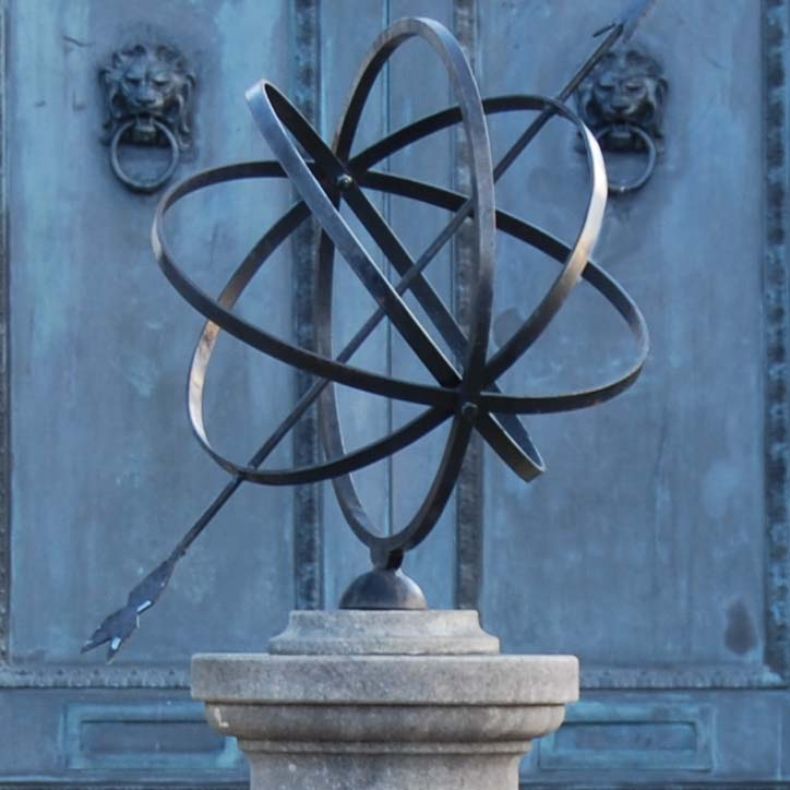 A carved limestone sundial pedestal and steel armillary sphere-111450