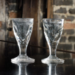Matched pair of toasting glasses,-0