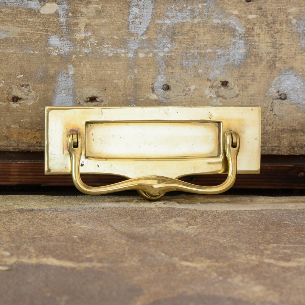 Brass weighted and sprung letterplate,-112363