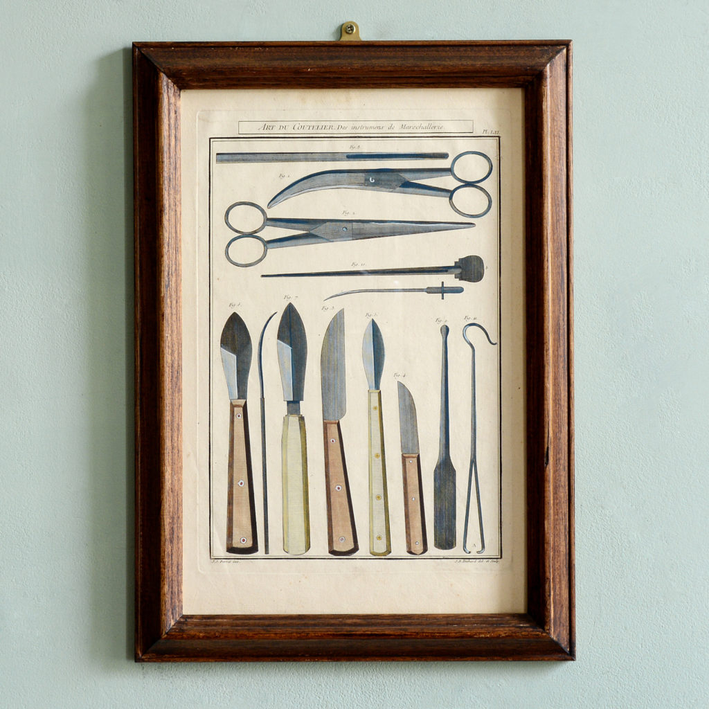 Original 18th century copper-engravings of knives,-0