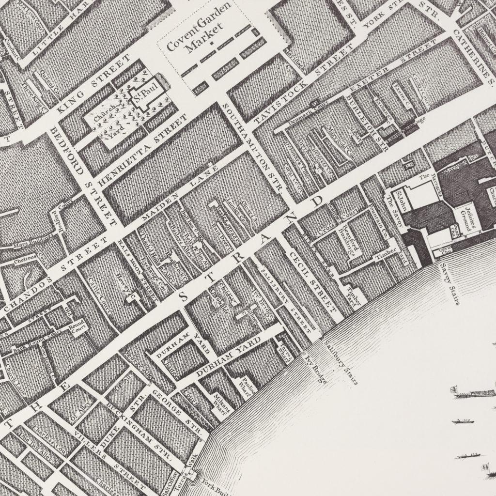 London in 1746, impressive wall map-112194