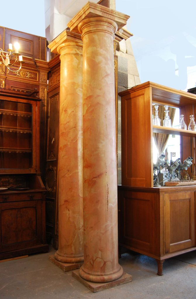 A set of four marbelised Tuscan order columns-0
