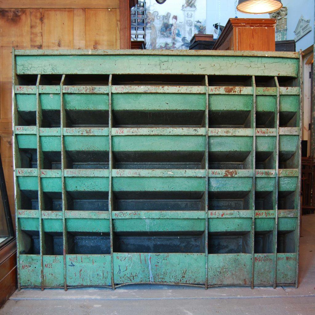 A painted steel industrial parts bin-0