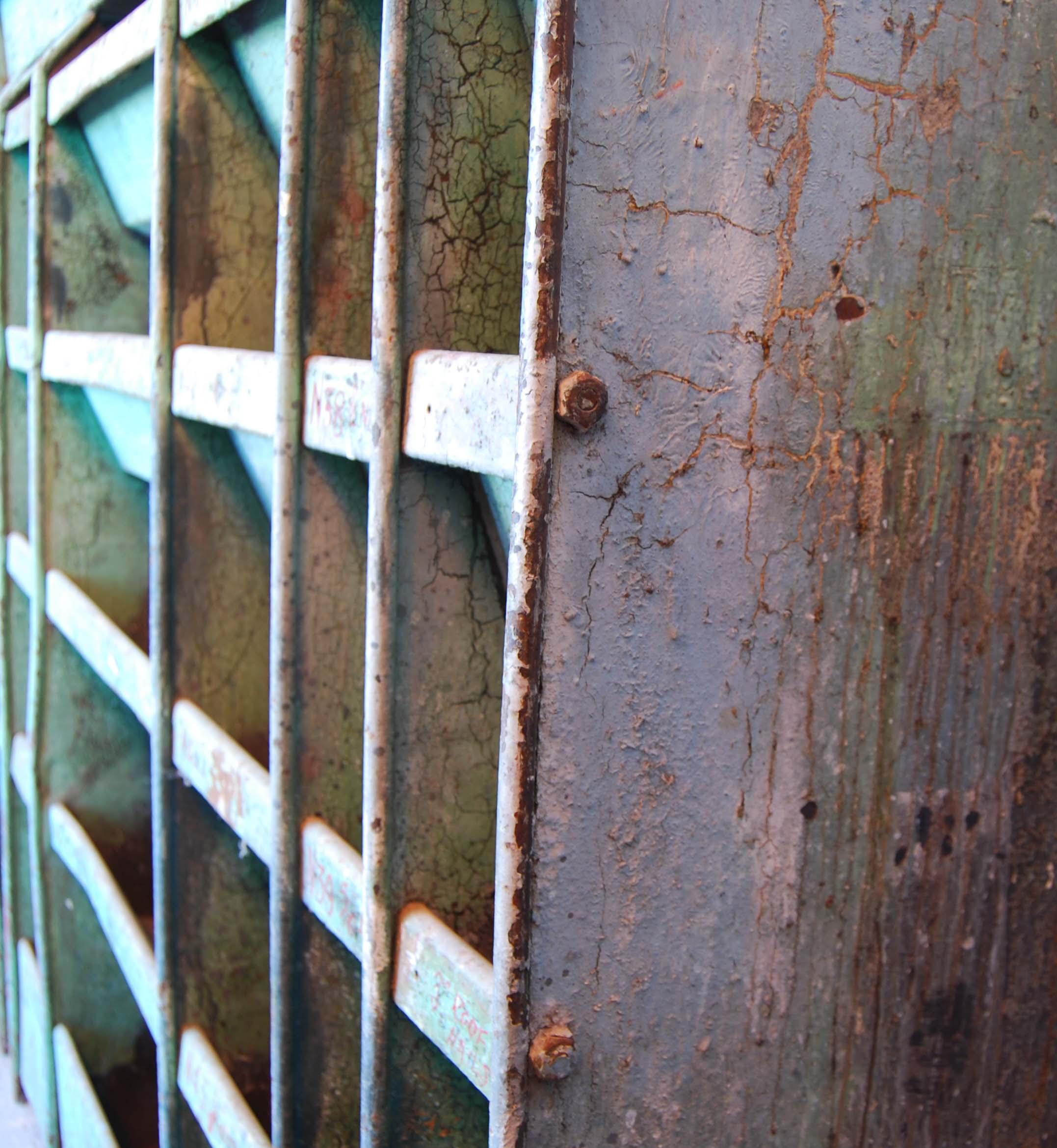 A painted steel industrial parts bin-112598