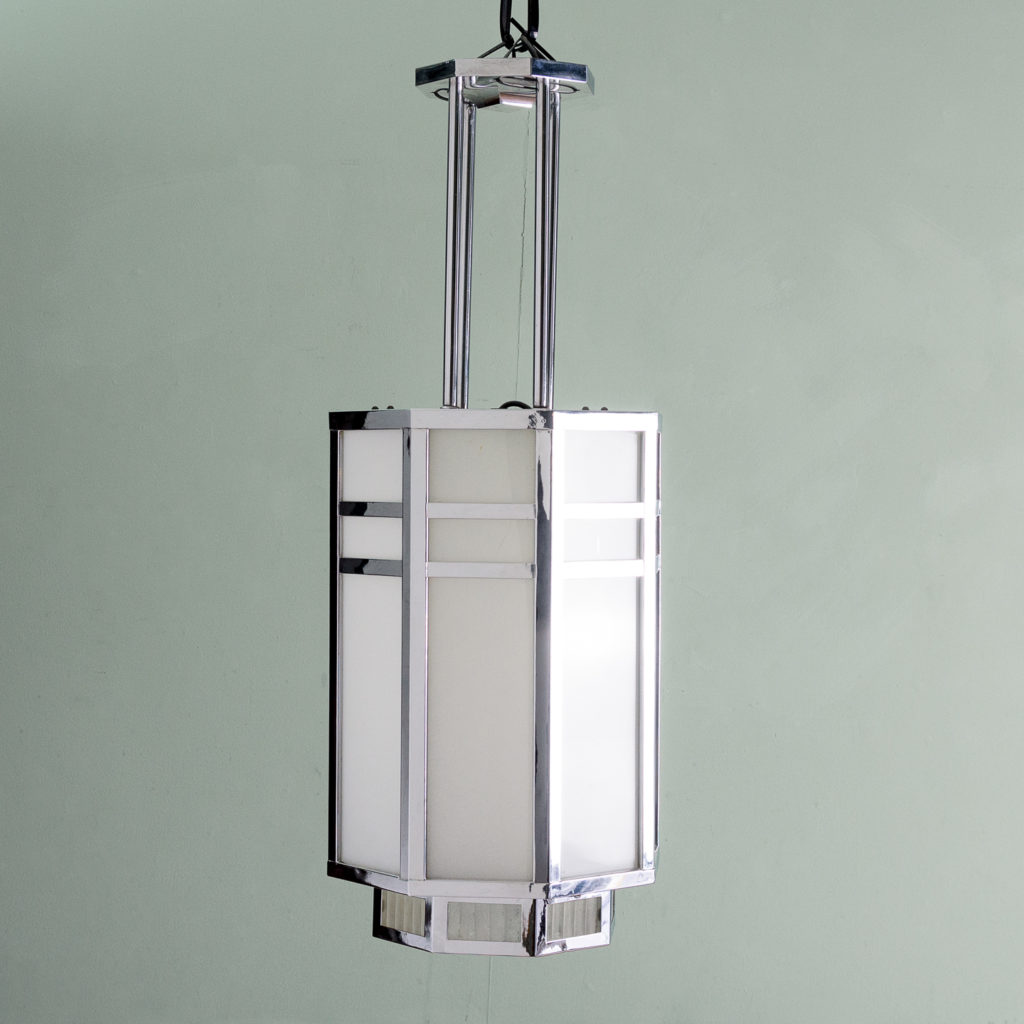 Octagonal Art Deco chrome lantern,-112836