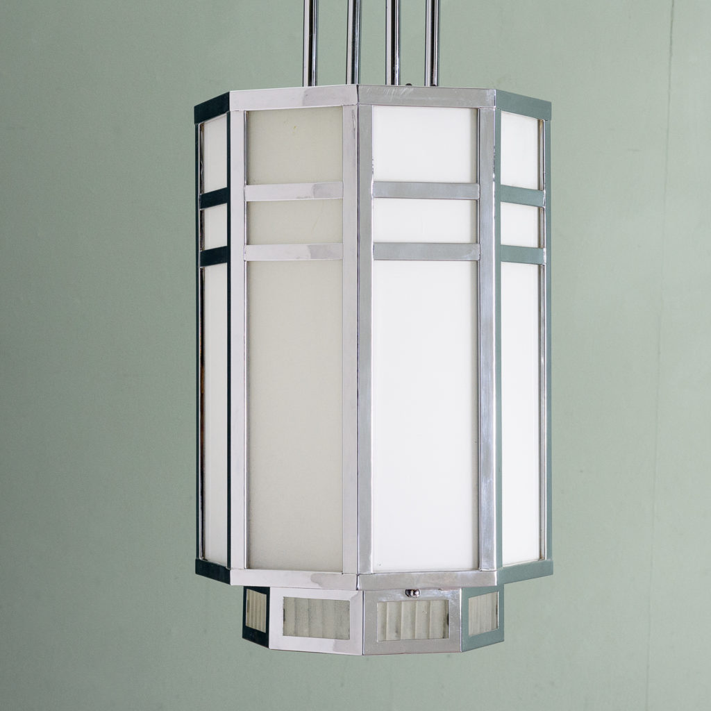 Octagonal Art Deco chrome lantern,-112834