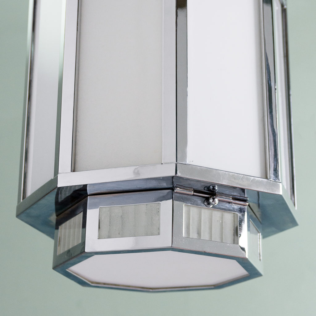 Octagonal Art Deco chrome lantern,-112837