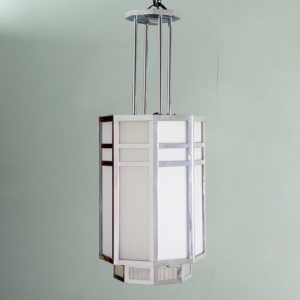 Octagonal Art Deco chrome lantern,-0