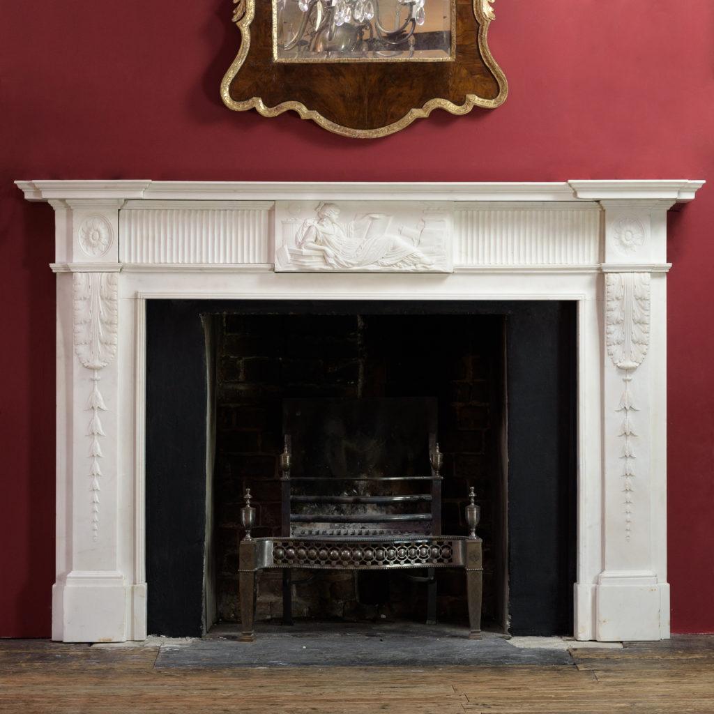 George III statuary marble fireplace,-0