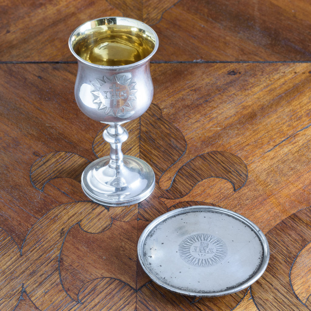 Early Victorian silver communion chalice,-112498