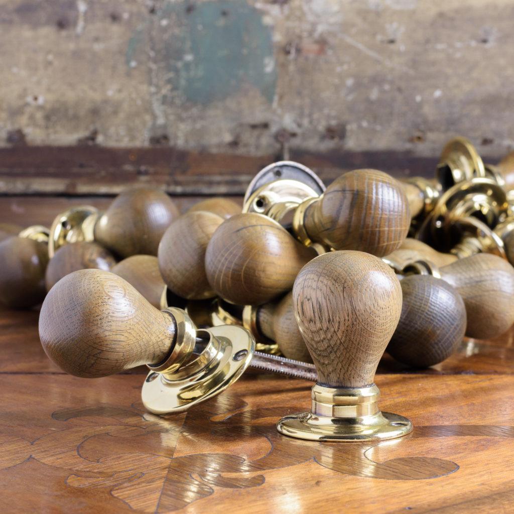 Turned oak and brass door handles,-0