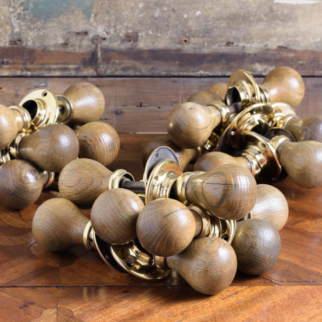 Turned oak and brass door handles,-112419